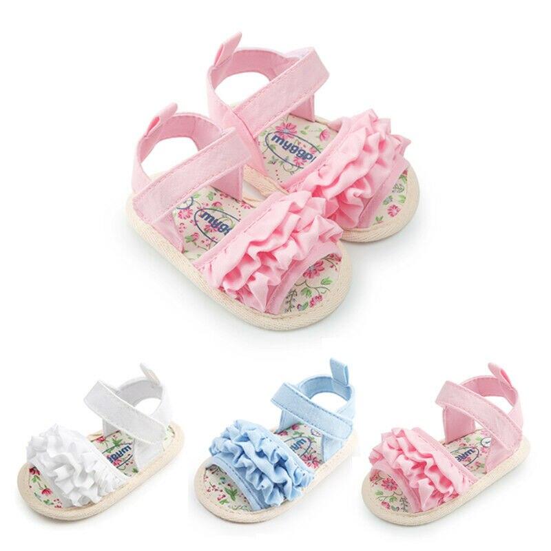 0-18M Cute Newborn Infant Girls Summer Sandals Toddler Baby Princess Soft Sole Ruffles Sandals Shoes