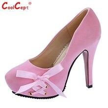 ผู้หญิงรองเท้าส้นสูงแพลตฟอร์มผู้หญิงรอบนิ้วเท้าปั๊มแฟชั่นหวานBowtieตื้นปากส้นรองเท้าขนาด35-39 Z00300
