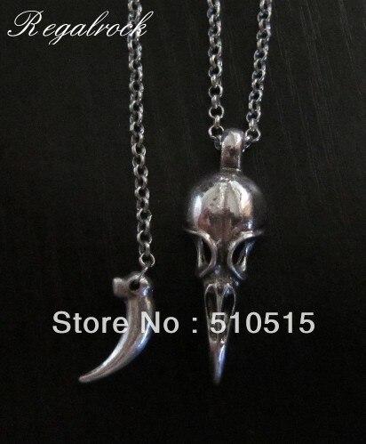 Collier crâne d'oiseau en corne de corbeau Regalrock