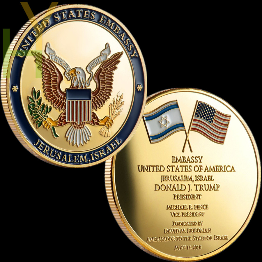 US $3 39 15% OFF|Sample Order, Limited Edition Jerusalem United States  Embassy Trump Challenge Coin-in Non-currency Coins from Home & Garden on