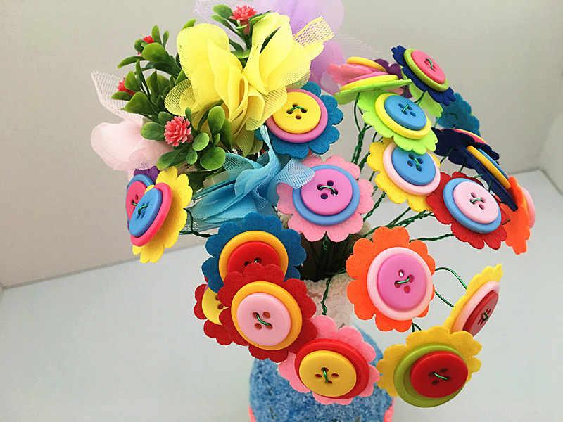 Happyxuan DIY фетр пуговица из ткани цветок вазы Малыш ручной работы поставки Наборы Детский сад творческий Рождество игрушечные лошадки украшения подарок