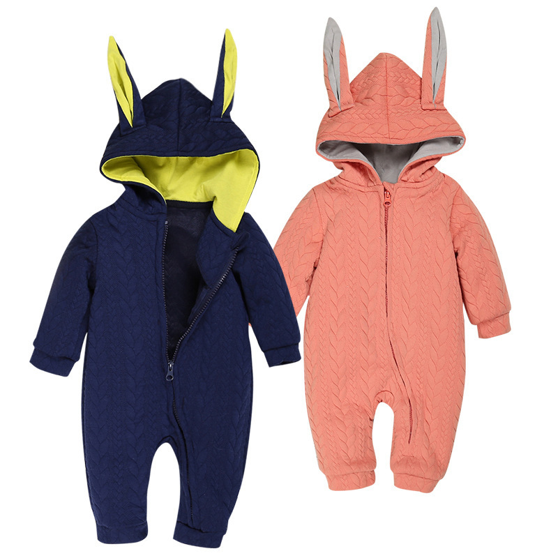 Baby Toddler Rompers Long Rabbit Ears Hooded Jumpsuits Cotton Fleece Warm Costumes Newborn Baby Clothes Autumn Winter Outerwear warm thicken baby rompers long sleeve organic cotton autumn
