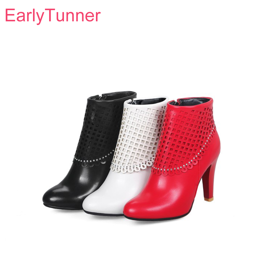 2018 Brand New Autumn Sexy White Red Women Ankle Boots Elegant Lady Shoes 4 Inch High Spike Heels EY88 Plus Big Size 10 45 48 brand new sexy women motorcycle boots black red beige white lady ankle riding shoes fashion nude heels ay902 plus big size 43 48