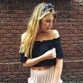 Sexy hombro corta blanca camisa de la blusa de Verano 2017 volantes muchachas Ocasionales Flojos blusas blusa Mujeres blusas de tubo de la playa ocasional