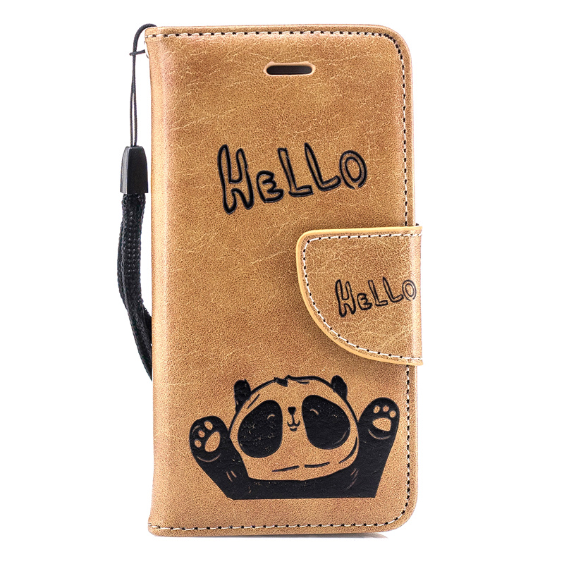 Fashion Cute Hello Panda Embossing Leather Wallet Case for iPhone 5 5S SE Flip Stand Card Holder Phone Cover for iPhone 5 5S SE in Flip Cases from Cellphones Telecommunications