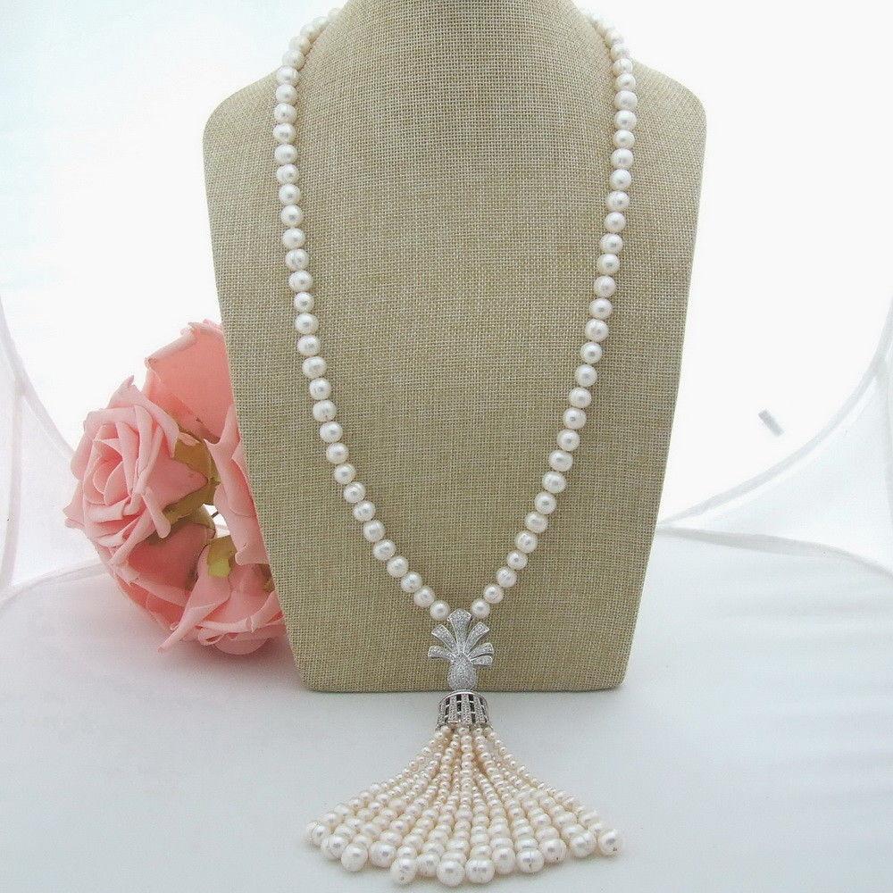 AB061702 White Pearl Necklace CZ Pendant 29