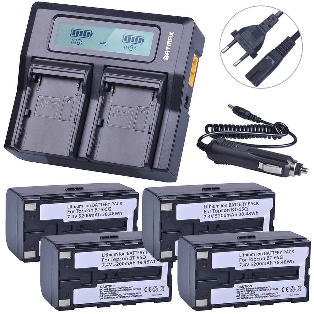 Batmax 4Pcs 7.4V 5200mAh BT 65Q BT65Q Li-Ion Battery + Rapid LCD Dual Charger Kits for Topcon GTS 900 and GPT 9000 Total Station total station topcon bt 65q bt 61q battery can replace the battery quality assurance