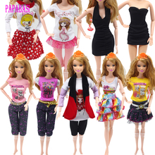 New Clothes A Lot = 5 Pieces or 10pcs  Fashion Lady Black Handmade Cool Dresses Outfit for Barbie Doll DIY Accessories