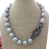 14x16MM Grey Keshi Pearl Necklace Lizard CZ Pave Pendant