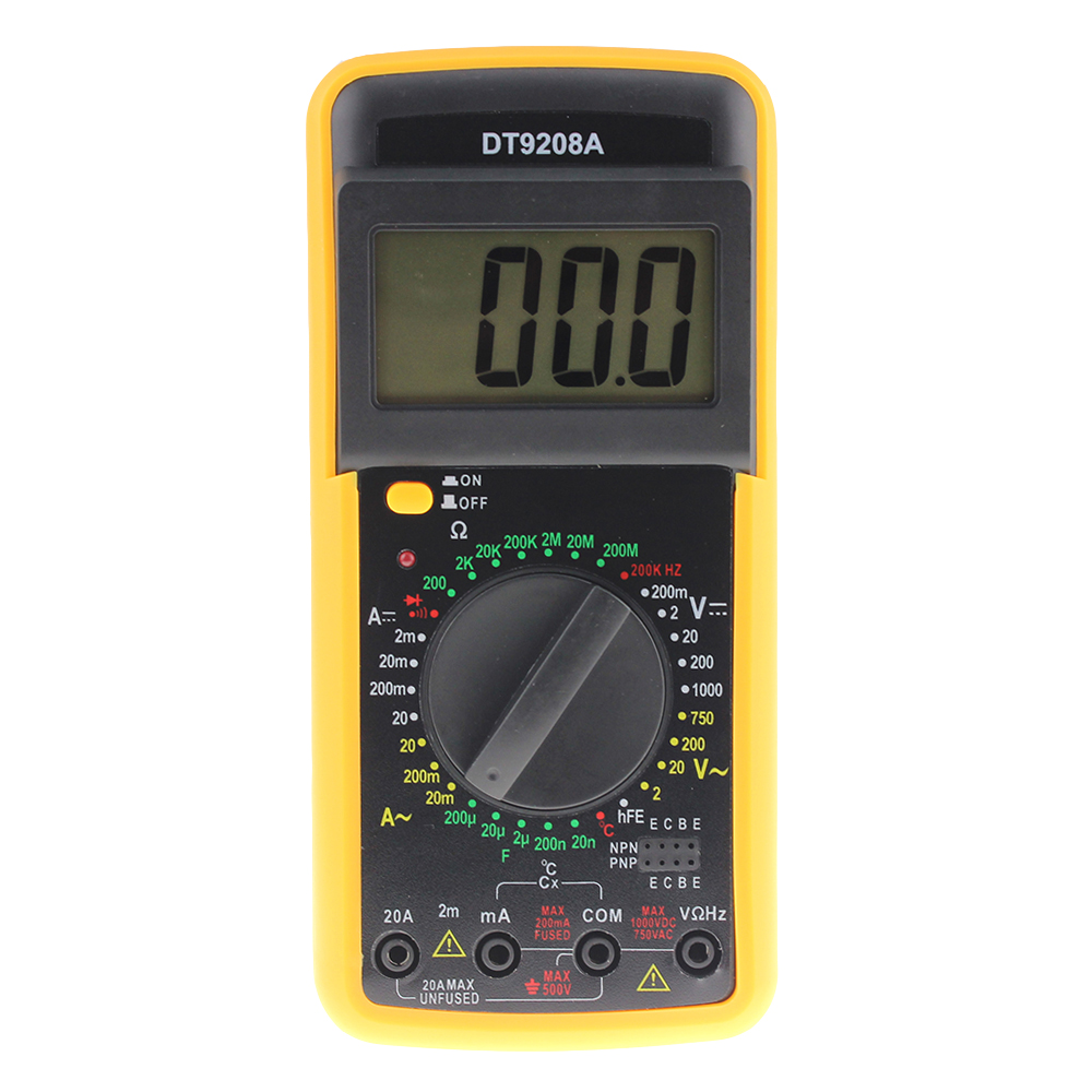 DT9208A Portable Digital Multimeter ACDC Voltage Current Resistance Capacitance Voltmeter Ammeter Multi Tester LCD Display