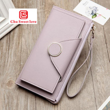 Ladies buckle long wallet two fold double zipper large capacity ladies card bag clutch