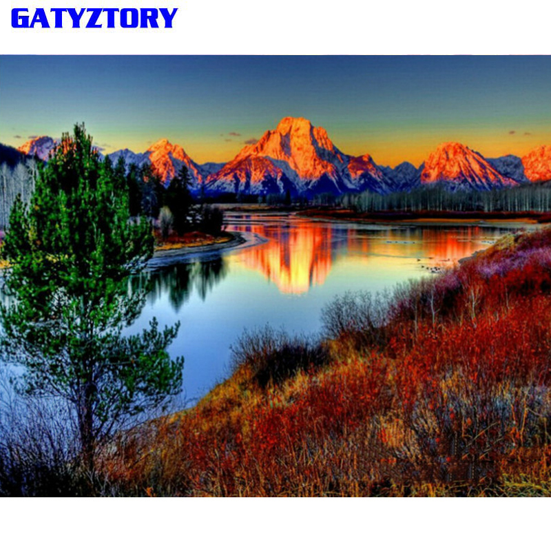 GATYZTORY Sans Cadre Montagne DIY Peinture Par Numéros Paysage Mur Art Photo Peinture Par Numéro Peint À La Main Pour La Décoration Intérieure Arts