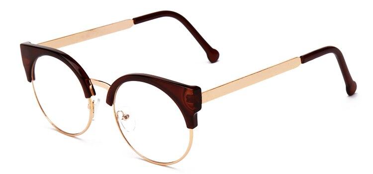Женские очки, кошачий глаз, очки, Ретро стиль, половинная оправа, металлические оправы для очков, по рецепту, оптическая близорукость, компьютерные прозрачные очки - Цвет оправы: brown
