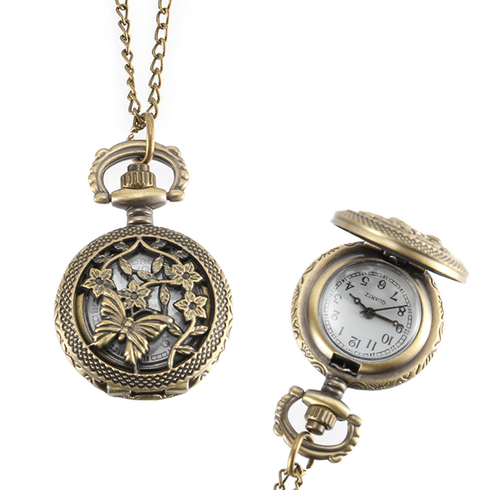 Vintage Pocket Watch Bronze Color Quartz Watch Cool Chain Hollow Butterfly Love Vine Flower Watches LL@17