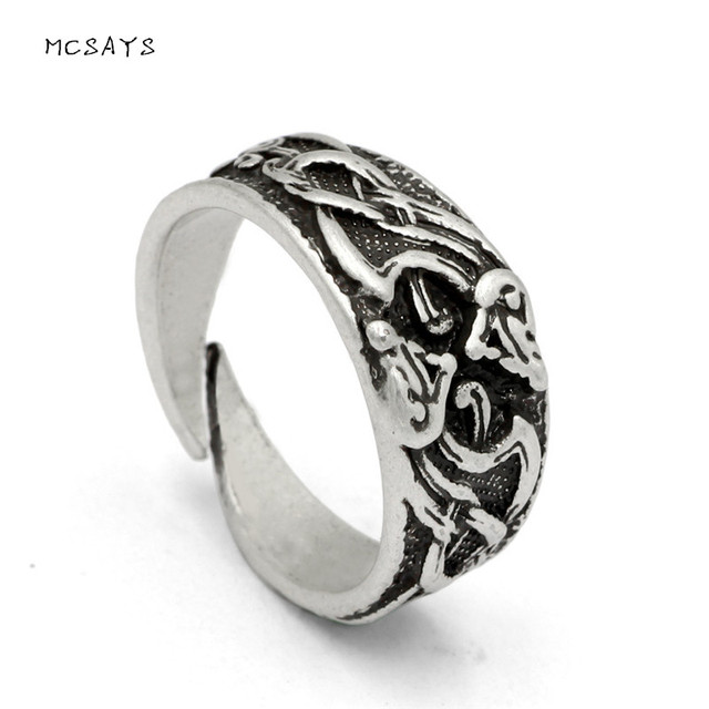 mcsays norse viking jewelry stainless steel adjustable totem pattern national ring mens amulet retro finger rings - Norse Wedding Rings