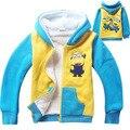 4 - 12 T crianças inverno Outwear crianças roupas assecla de lã casacos camisola Hoodies casaco Minions Despicable me meninos quente