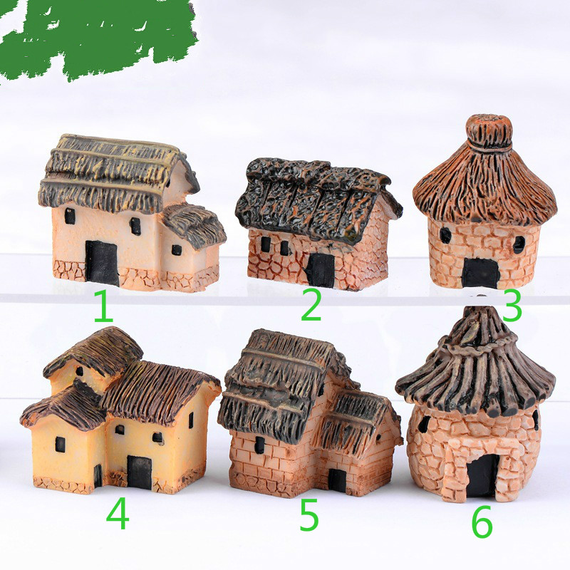 Moss micro landscape ornaments Mini Resin House Miniature House Fairy Garden Micro Landscape Home Garden Decoration Resin Crafts