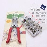 110 sets 9.5mm Hollow & 10mm Solid Kleurrijke Koperen Ring Drukknoop + Hand Druk Tang DIY Baby Romper Accessoires