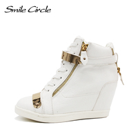Brand Women Sneakers Leather Wedge Boots Autumn Women Sneakers Ankle Boots Isabel Marant Shoes Wedge High