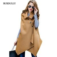 Burdully秋ロング暖かいウールカシミヤコートレディースエレガントなデザイナー2017冬のウールコート女