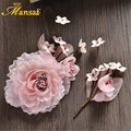 Romantic Korean Style 3Colors Silk Hair Flower Handmade Floral Jewelry Headband Girls Birthday Party Porm Hair Accessories SG378