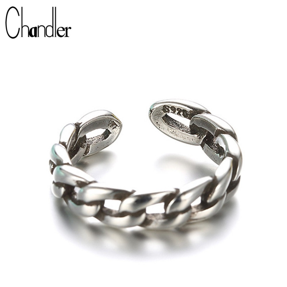 Chandler 925 Sterling Silver Antique Big Link Chain Rings For Women Midi Pinkie Finger Adjustable Vintage Bague dropshipping