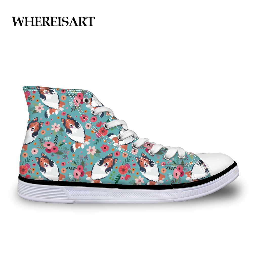 WHEREISART Women Vulcanize Shoes Cute Dog Rough Collie Flower Breathable Canvas Woman Sneakers Casual Flat Student Walking Shoe