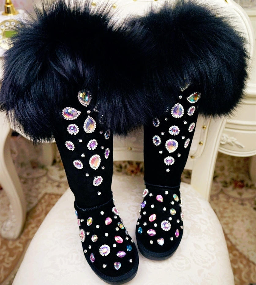 Cow Suede Leather Real Fur Thigh High Boots Bling Crystals Over the Knee Boots Women Winter Snow Boots Warm Plush Winter ShoesCow Suede Leather Real Fur Thigh High Boots Bling Crystals Over the Knee Boots Women Winter Snow Boots Warm Plush Winter Shoes