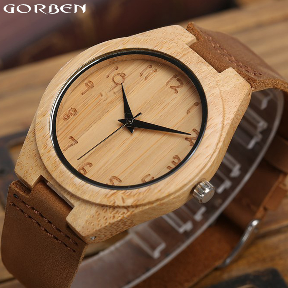 Подробнее о Gorben Brand Natural Handmade Wooden Watch Simple Quartz Watches Men Cow Leather Band Strap Wood Wristwatch For Men Women Gifts japan style men s watch natural wooden wristwatch wood quartz watch box nice gifts for men relogio masculino 2016 luxury brand