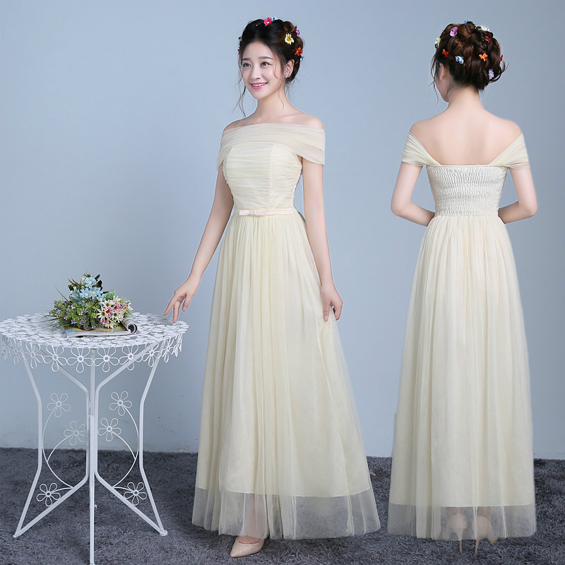 f2e78651f52 Sweet Memory Boat Neck Long bridesmaid dress bride sisters school  graduation dress Promotional Price SW0050-38