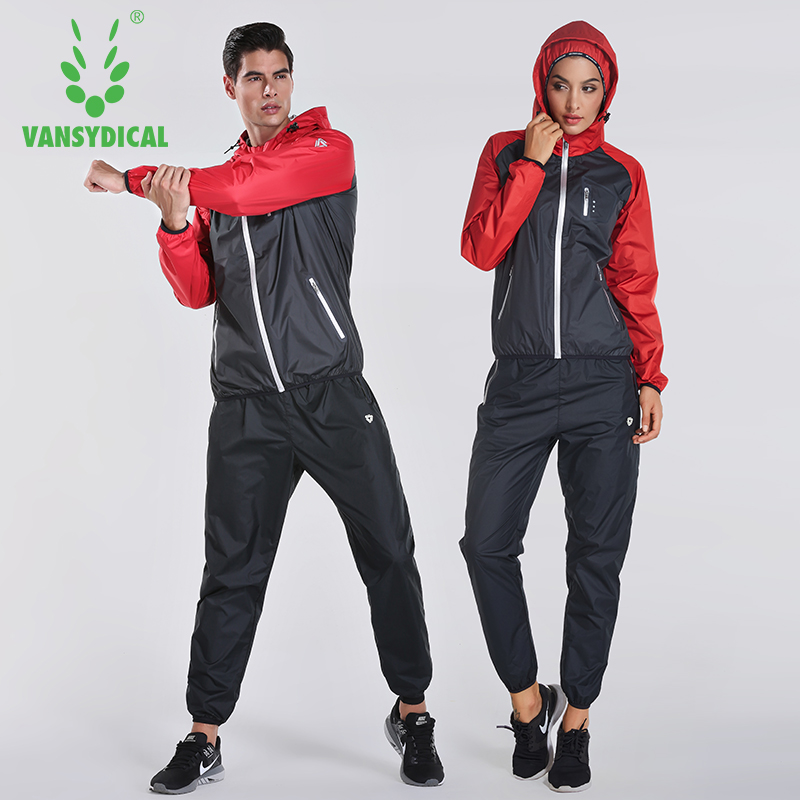 2018 VANSYDICAL Sweat Suit Womens Mens Sports Running Suits Fitness Lose Weight 2pcs Gym Sportswear Fitness Track Training Suits exercise spin bike home gym bicycle cycling cardio fitness training workout bike lose weight fitness equipment load indoor