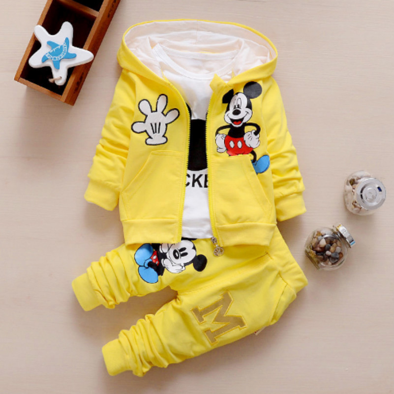 Baby Girls Boys Clothes Sets 0 4 Years Old Cotton Cartoon Coat T Shirt Pants Casual Kids Children Suits in Clothing Sets from Mother Kids