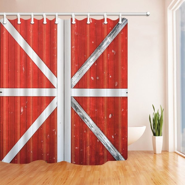 Farmhouse On Village Shower Curtains For Bathroom Traditional Red