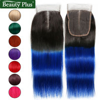 Ombre Closure Blue Brazilian Straight Hair 4x4 Lace Closure Beauty Plus Remy Human Hair Pre Colored Turquoise Burgundy Closure