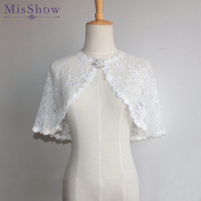 4500a5f31 Stock 7 colors Ivory back Bolero Women Lace Jacket Cape Bridal Wraps  Wedding Accessories Evening party