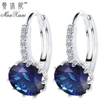 2017 Luxury Ear Stud font b Earrings b font For Women 12 Colors Round With Cubic