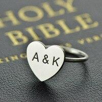 قلب خاتم الفضة 2 3initials بحروف محفورة اسم الدائري اسم مخصص مجوهرات فريدة هدية ل ارتداء اليومي