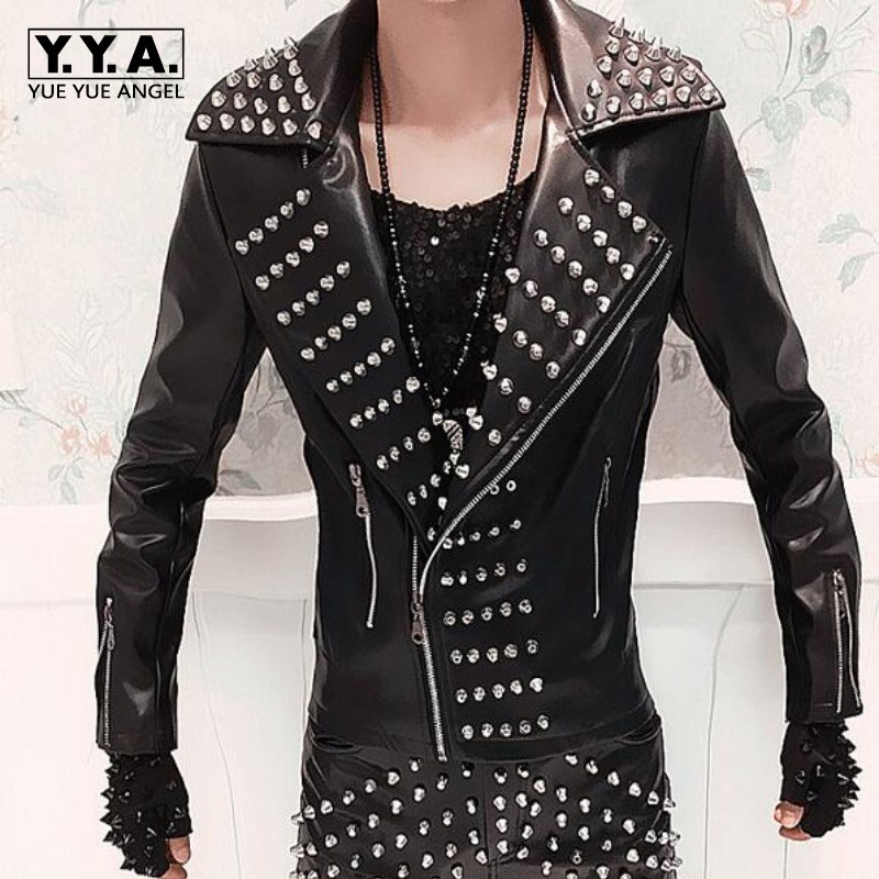 New Fashion Mens Punk Rock Costume Rivets Spike Motorcycle Jacket PU Leather Coats Plus Size MLXL2XL3XL