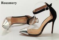 Women Classical Design Silver Pointed Toe Transparent Pumps Ankle Buckle Design 12cm High Heels Formal Dress