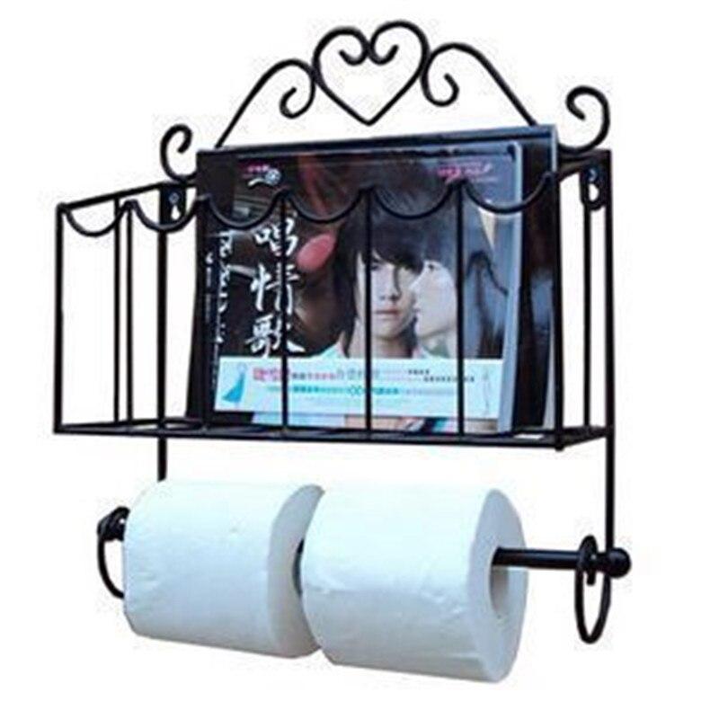 Mode mobilier en fer forgé porte-serviette en papier porte-revues mural salle de bains plateau