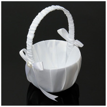 Hot Sale Romantic White Satin Bowknot PEARL Flower Girl Basket Wedding Ceremony Party