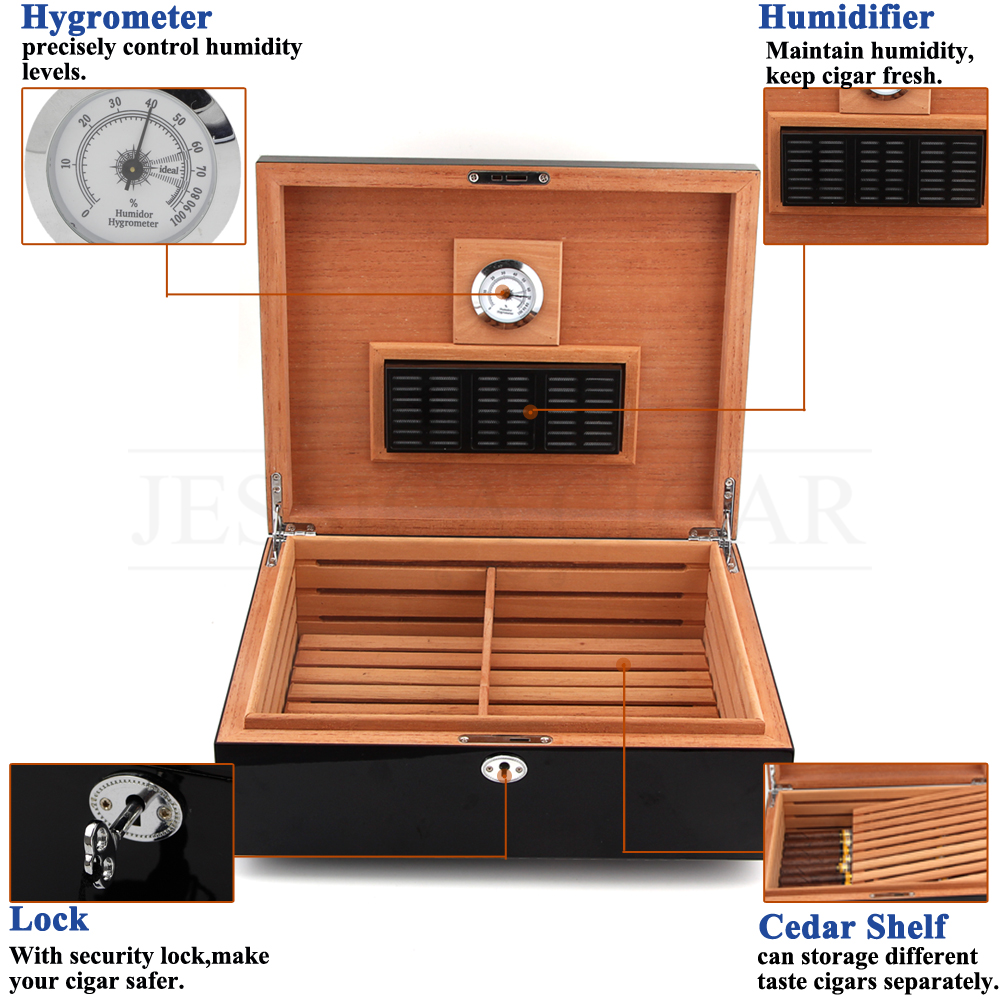 COHIBA Cedar Wood Cigar Humidor Box Puro Case W/ Hygrometer Humidifier Black Cigar Box Humidor Charuto Fit 75 Cuba Cigars