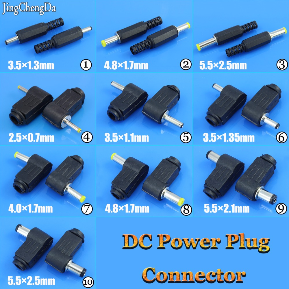 Male DC Power Plug Connector Angle 90 Degree L Shaped Plastic 5.5*2.5 5.5*2.1 4.8*1.7 4.0*1.7 3.5*1.35 3.5*1.1 2.5*0