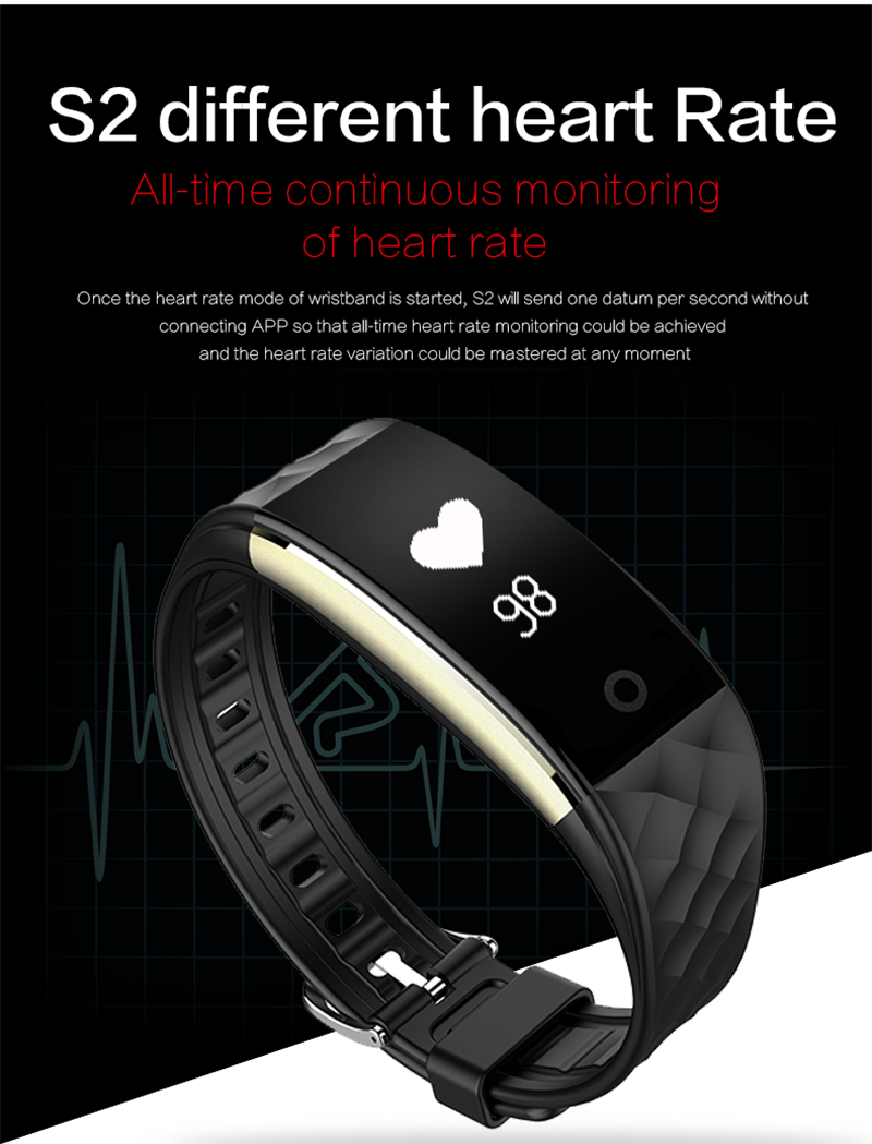 Waterproof Bluetooth Smart Band S2 Smart Wristband Bracelet Heart Rate Pedometer Sleep Fitness Tracker for Android IOS Phones 9