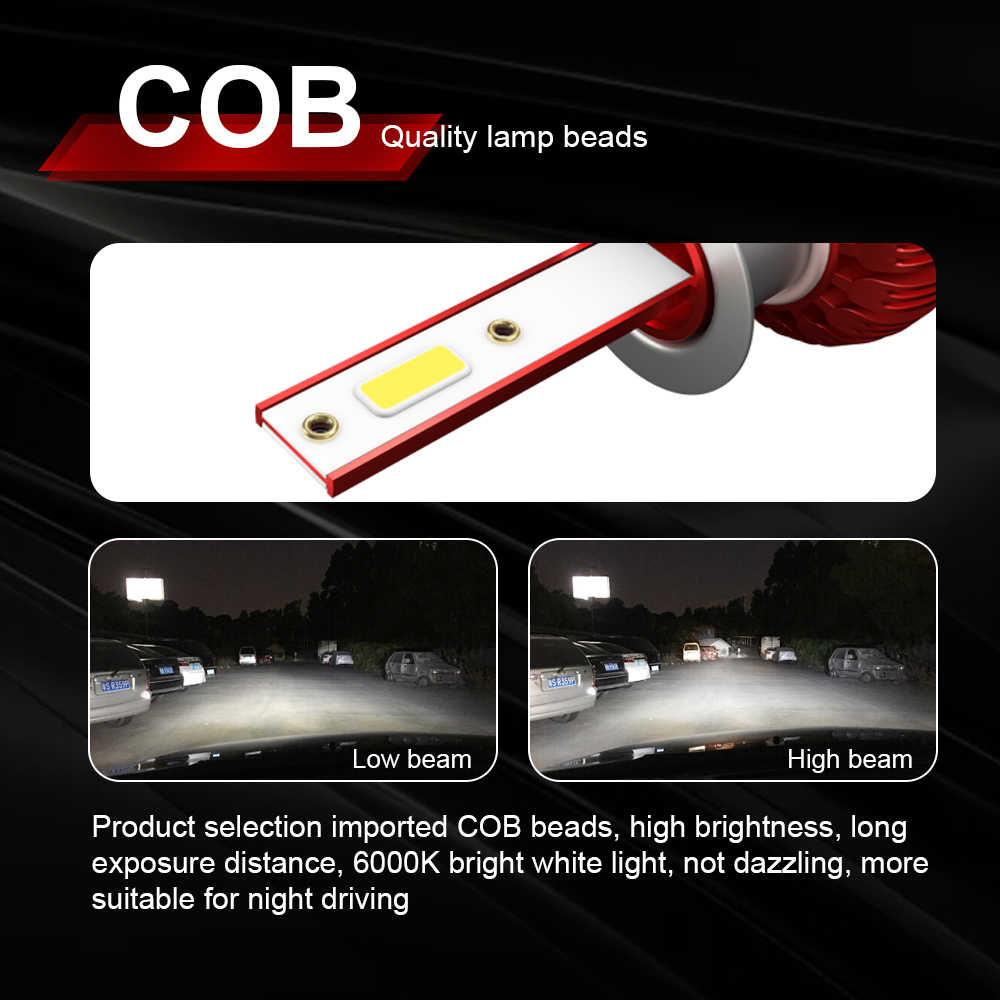 Roadsun מכונית אור נורות LED H4 H7 H1 9005 9006 H11 35W 8000LM אוטומטי רכב פנס נורות 6000K 12V 24V פנס COB ערפל אור הנורה