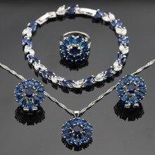 Azul Creado Zafiro Blanco CZ Collar de Color Plata Colgante Pulseras Pendientes Anillos Para Las Mujeres Conjuntos de Joyas Caja de Regalo Libre