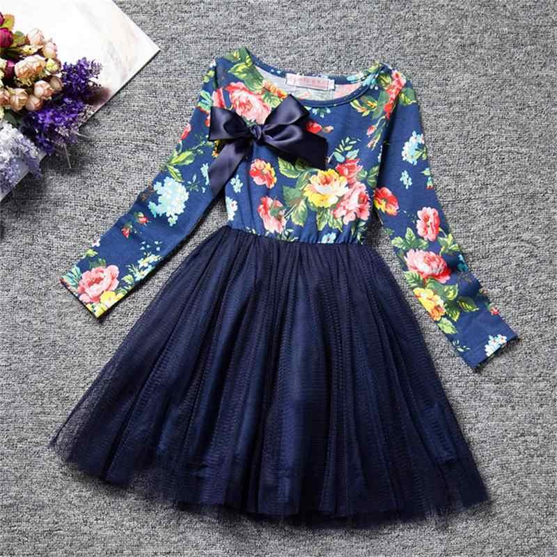 32606f1ec Bebé niña manga larga vestido flores vestidos para niñas ropa de niños  vestido de fiesta de