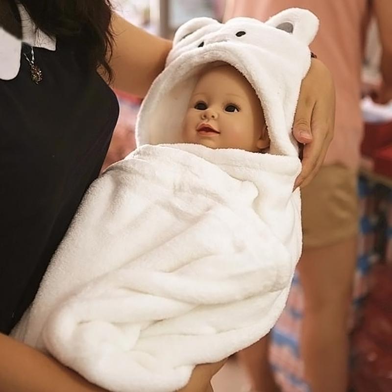 100*69cm Kids Hooded Bathrobe Baby Toddler Flannel Cartoon Lovely Towel Baby Bath Towel Cute Cartoon Animal Soft Sleep Swaddle