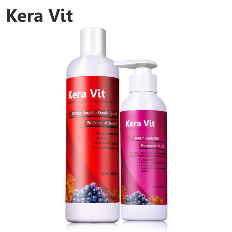 Hair daily shampoo+keratin brazilian treatment Straighten hair or curly hair get one free  kera kit  Free Shipping brazilian grape free formaldehyde keratin treatment straighten hair product hair flat iron soften and smoothing hair