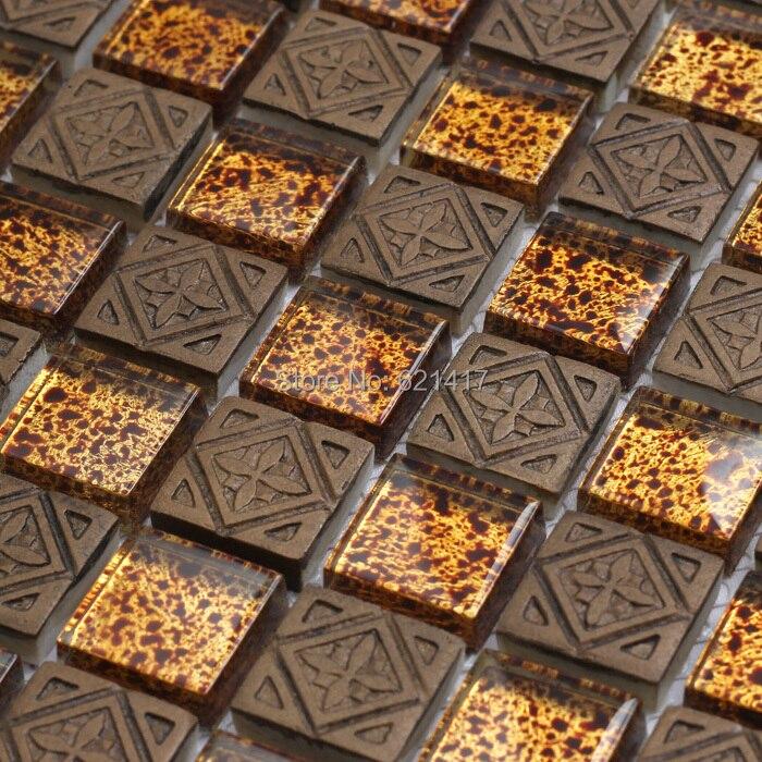 Profondo colore marrone lgass tessere di mosaico backsplash cucina mosaico bagno doccia camino - Mosaico vetro bagno ...